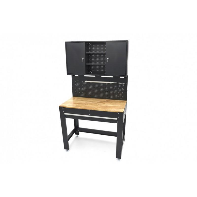 Banc de lucru 115cm, blat de lemn, LED, cutii depozitare - H10325
