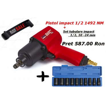 Pistol impact 1/2 1492Nm + Set tubulare 1/2 10-24mm